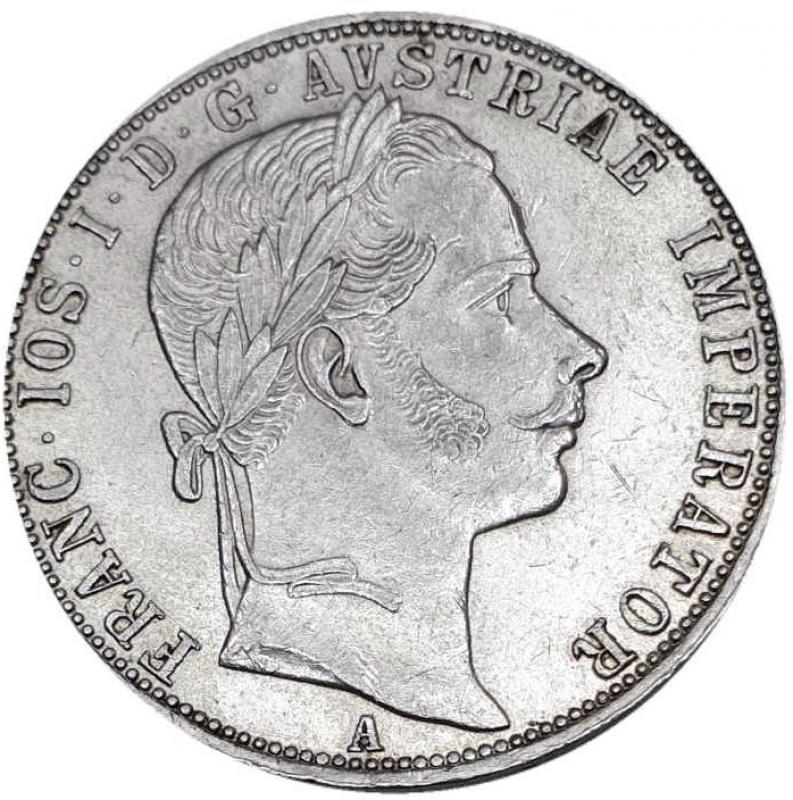reverse: Austria 1 Florin 1861 A Vienna. Franz Joseph I (1848-1916)AG