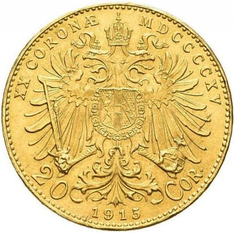 obverse: Austria,Österreich: Franz Joseph I. 1848-1916: 20 Kronen 1915 Oro FDC  Franz Joseph I.
