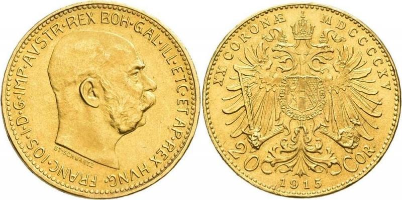 reverse: Austria,Österreich: Franz Joseph I. 1848-1916: 20 Kronen 1915 Oro FDC  Franz Joseph I.
