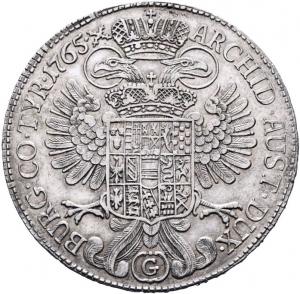 reverse: Austria, Ungheria. 1 Thaler (taler) 1765 SC Günzburg Argento
