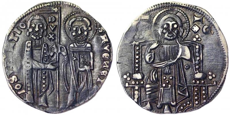 obverse: Venice Giovanni Soranzo (1312-1327) Grosso (First type) Venice Zub-Luciani 63. 2.13 g.