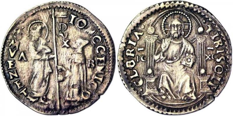 obverse: Venice Giovanni Mocenigo (1478-1485) Marcello o Mezza Lira Venice CNI 91 var. 3.18 g. BB.