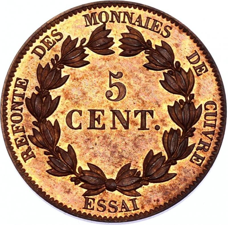 obverse: France 5 Centimes 1840 Essai Barre Maz# 1145; Bronze; Proof