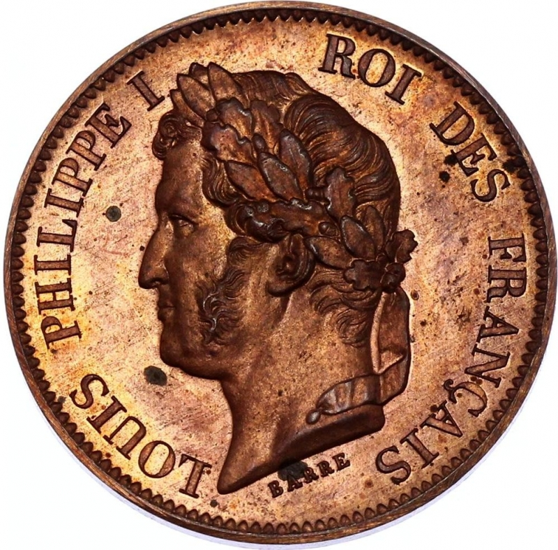 reverse: France 5 Centimes 1840 Essai Barre Maz# 1145; Bronze; Proof