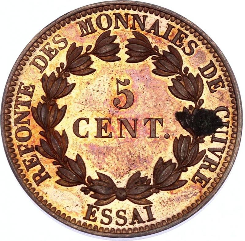 reverse: France 5 Centimes 1840 Essai (Prova,Probe,Test) Barre Maz# 1145; Bronze; Proof