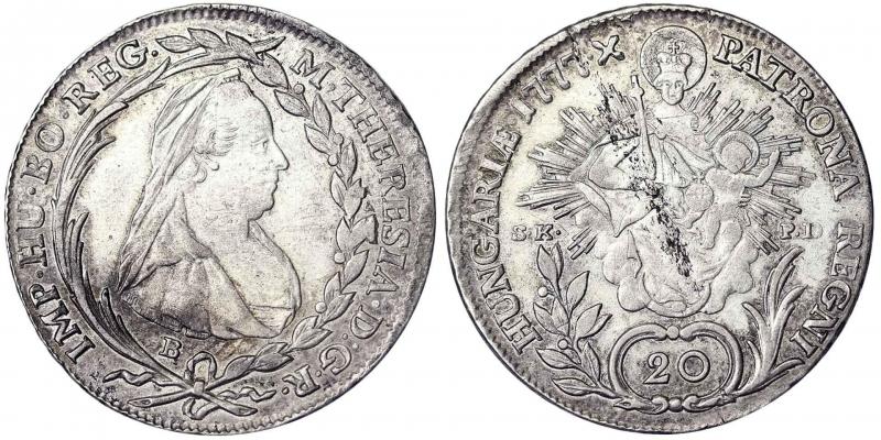 obverse: Maria Theresia, Holy Roman Empress (1740-1780) 20 Kreuzer 1777 Kremnitz 6.60 g.