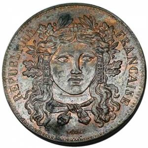 obverse: Francia - 2a Repubblica 1848-1852 (D) 10 centesimi 1848 Essai (Moullé) Rare