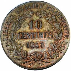 reverse: Francia - 2a Repubblica 1848-1852 (D) 10 centesimi 1848 Essai (Moullé) Rare