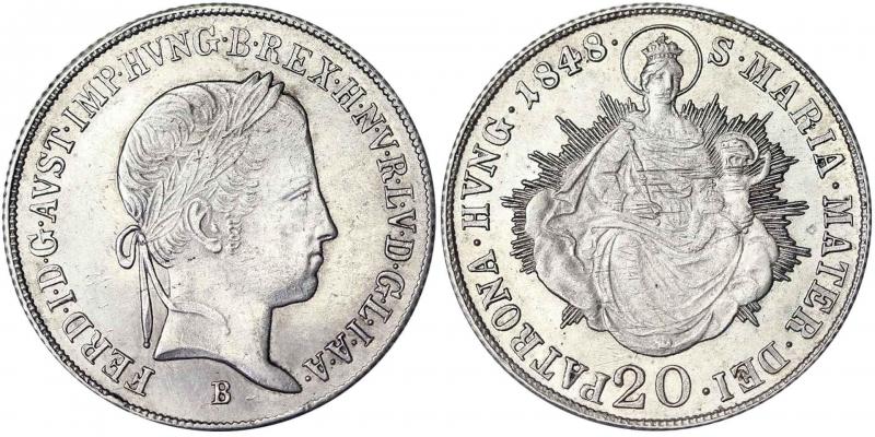 obverse: ustro-Hungarian Empire Ferdinand I (1835-1848) 20 Kreuzer 1848 B