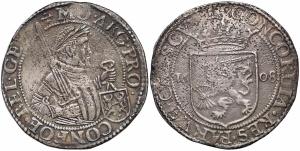 obverse: Netherlands, Gelderland, Rijksdaalder 1608 Argento