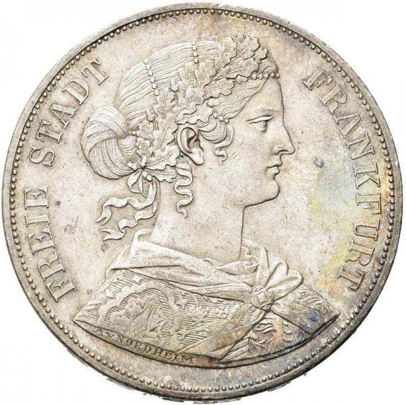obverse: Germania Doppio tallero (2 club thalers) 1862, Francoforte sul Meno.
