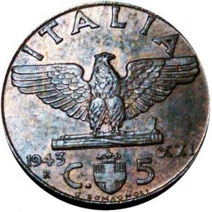 """obverse: Vittorio Emanuele III. 5 Centesimi 1943 XXI """"Impero""""; Ba; Mont.397 - Pag.925.  FDC"""