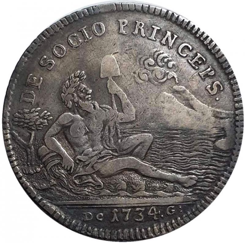 obverse: NAPOLI Carlo di Borbone, 1734-1759. Piastra da 120 Grana 1734 - I Tipo.
