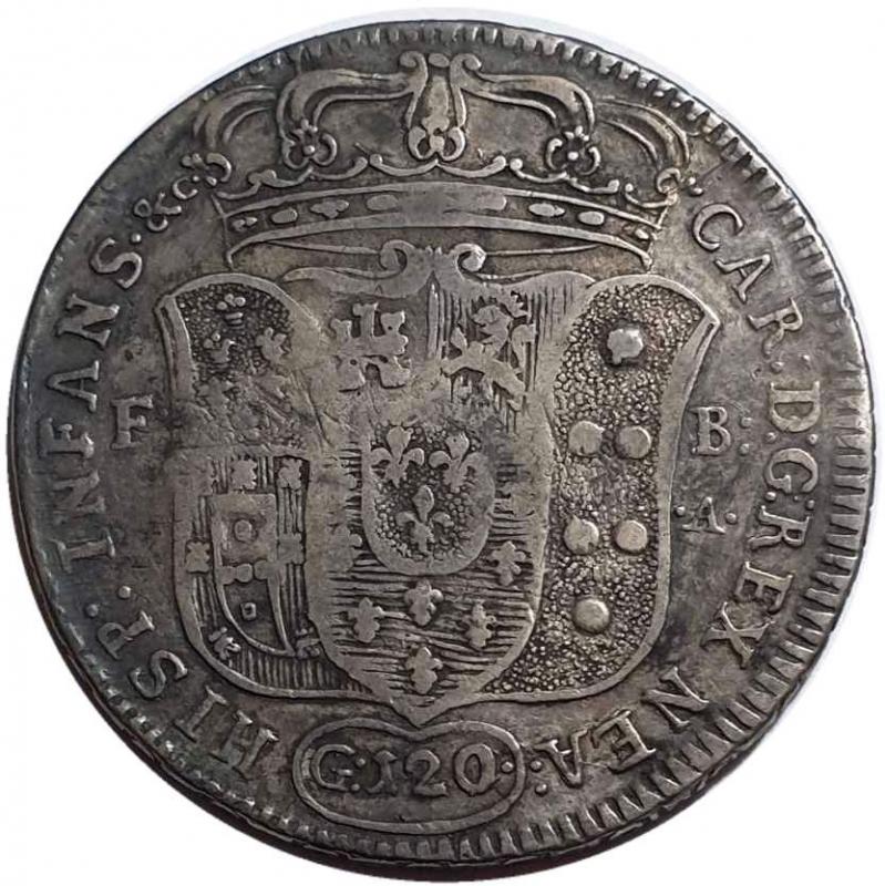reverse: NAPOLI Carlo di Borbone, 1734-1759. Piastra da 120 Grana 1734 - I Tipo.