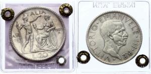 obverse: Regno d Italia, VITTORIO EMANUELE III, 20 LIRE, 1927 A VI, Littore, zecca di Roma, ARGENTO,