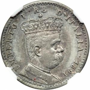 reverse: Eritrea. Lira, 1891-R. KM-2; Pagani-635, Umberto I.NGC graded Extremely Fine