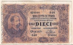 obverse: Italia - 10 Lire 1888 - Biglietto di Stato - Gigante BS 16A