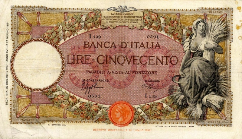 obverse: Banca d'Italia – 500 Lire 22/12/1937 I139 0591 – Gig. BI 29M