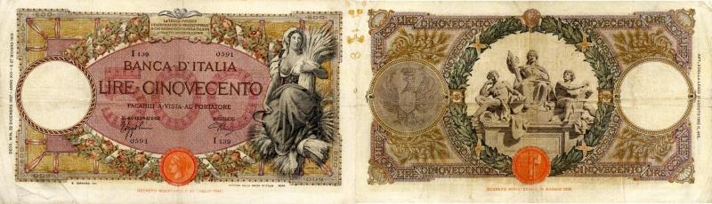 reverse: Banca d'Italia – 500 Lire 22/12/1937 I139 0591 – Gig. BI 29M