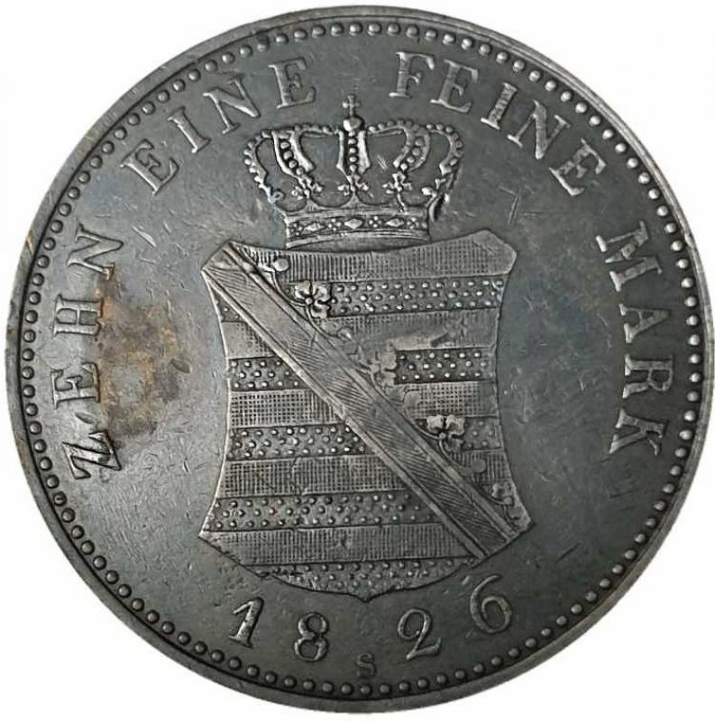 reverse: Germania SASSONIA, Elettori e Albertini. Friedrich August III. / I., 1763 - 1827. Convenzione tallero 1826 S, Dresda.