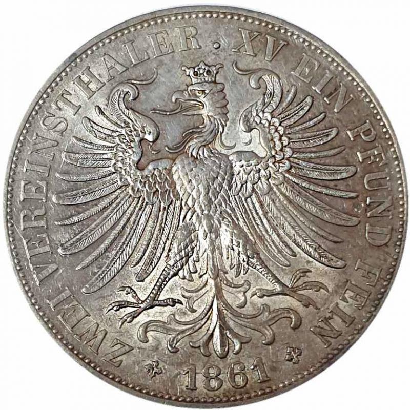 obverse: Germania. Frankfurt. Doppio tallero (2 Thalers) 1861 Argento -
