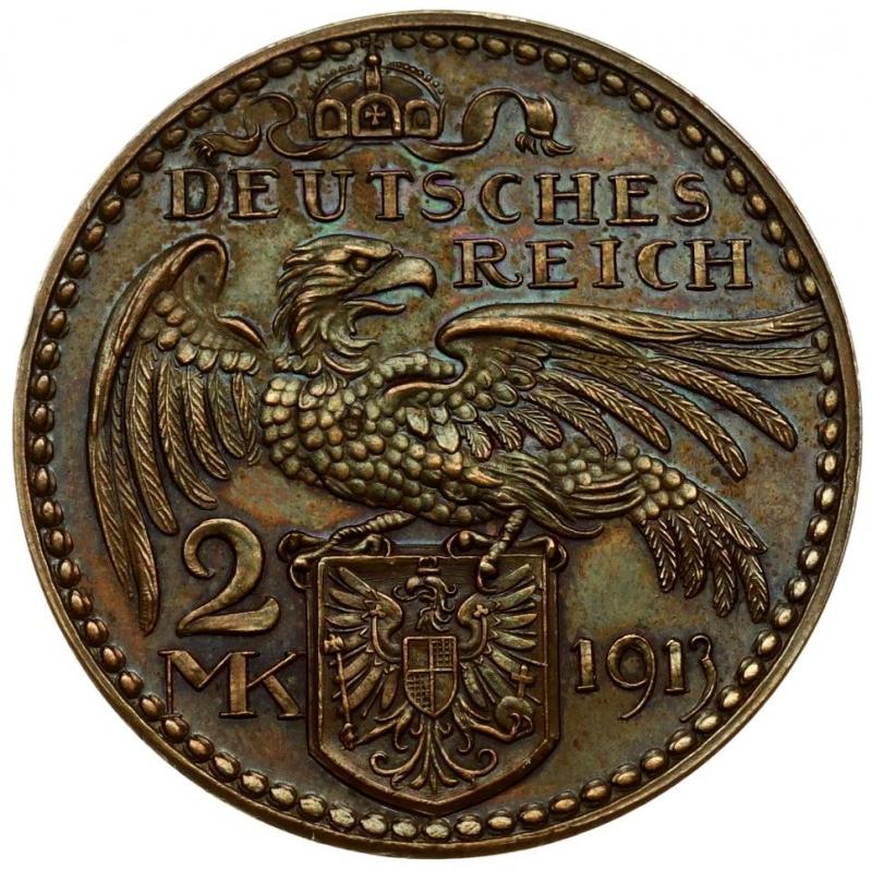 obverse: Germany PRUSSIA 2 Mark 1913 PATTERN-PROBE. Wilhelm II(1888-1918). Averse: Bust left. Reverse: Eagle with wings spread; arms below. Copper. X 2a.