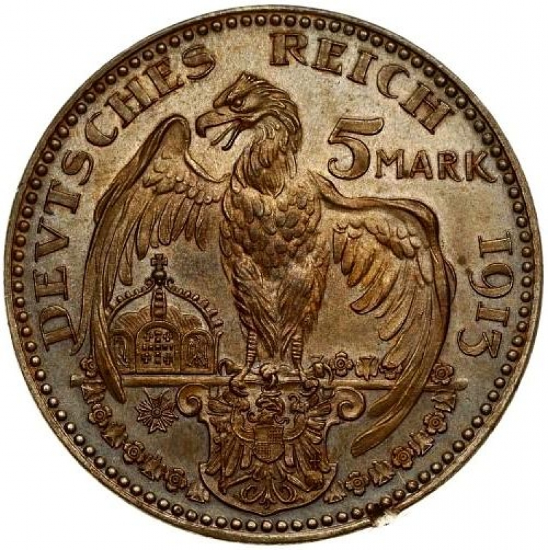 obverse: Germany PRUSSIA 5 Mark 1913 PATTERN-PROBE. Wilhelm II(1888-1918). Averse: Bust right in helmet. Reverse: Eagle with wing around crown; shield below. Copper.