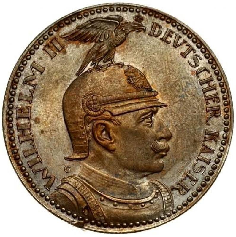 reverse: Germany PRUSSIA 5 Mark 1913 PATTERN-PROBE. Wilhelm II(1888-1918). Averse: Bust right in helmet. Reverse: Eagle with wing around crown; shield below. Copper.