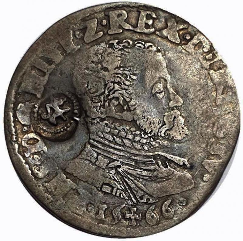 obverse: Belgium, World coins 1/5 Thaler 1566. Brabant. Philipp II. (1555–1598) Countermark.