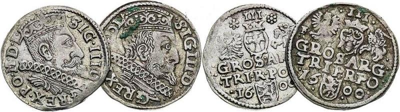 obverse: Poland, World coins 3 Groschen 1600 (2 pcs). Bromberg, Wschowa.AG