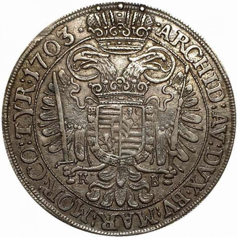 reverse: REGNO DI UNGHERIA - LEOPOLD I Kremnitz 1703 (31mm, 7,11g, 12h) AU