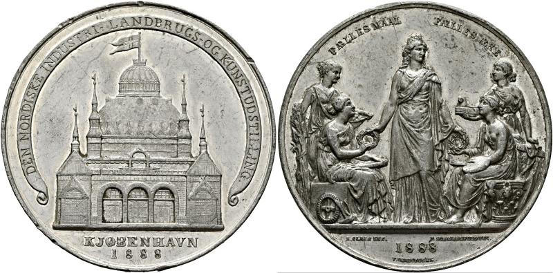 obverse: DANIMARCA. Christiania (Copenaghen). Medaglia argentata 1888 di F. Schmahlfeld eV Christensen.