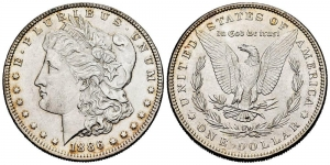 obverse: United States. 1 dollar. 1886. Philadelphia. (Km-110). Ag. 26,64 g.