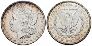 obverse:  United States. 1 dollar. 1887. Philadelphia. (Km-110). Ag. 26,65 g.