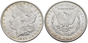 obverse:  United States. 1 dollar. 1887. Philadelphia. (Km-110). Ag. 26,76 g. AU.