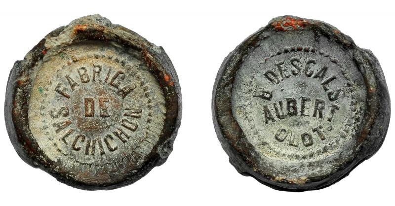 obverse: Spagna ALFONSO XIII. Sigillo di piombo. Olot. B. Decalcomanie Aubert Sausage Factory. 12,90 gr. EBC +.