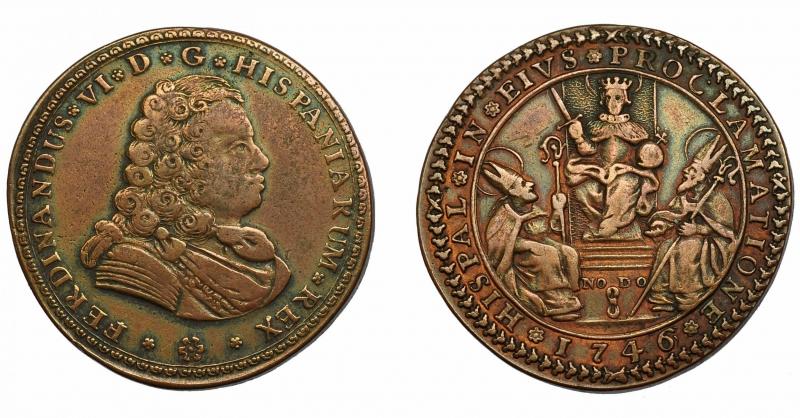 obverse: FERNANDO VI. Medaglia 1746. Proclamazione a Siviglia. AE 34 mm