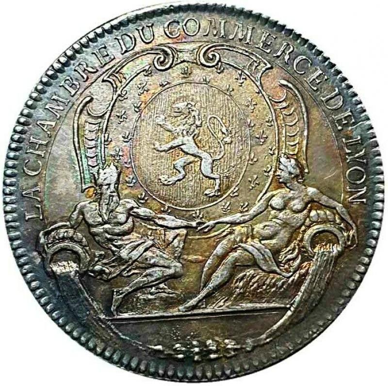 reverse: Francia Jeton AR 28, États de Rennes Date: 1754 Metal : silver Diameter : 28 mm SPL