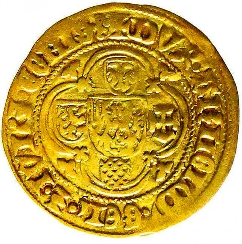 reverse: Paesi Bassi. Gelderland, Ducato, Arnold von Egmond, 1423-1472 Fiorini d oro senza data 3,04 Raro.