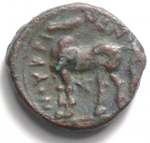 reverse: Mondo Greco. Bruttium. Nuceria. 350-270 a.C. Obolo. Ae. D/ Testa laureata di Apollo verso destra. R/  Cavallo verso sinistra, tra le zampepentagramma. SNG ANS 597.Peso 8,53 gr. Diametro 21 mm.BB. R.