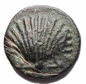 obverse: Mondo Greco - Calabria, Graxa. AE 14.5 mm. c. 250-225 ac. gr 2,4.SNG ANS 797. BB. Patina verde intenso. Rara