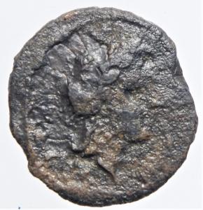 obverse: Mondo Greco.Campania. Neapolis. (Circa 250-225 A.C). AE 17 mm. D/ Testa laureata di Apollo a destra. R/ Toro androcefalo a destra sopra un delfino.Peso 2,65 gr.Diametro 17,50 mm. qBB Simbolo molto raro