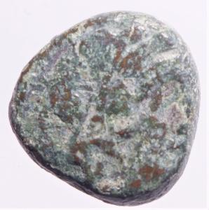 obverse: Mondo Greco.Zecche Incerte. Area Minturno Garigliano. Ae. D\ Testa di Dioniso a destra. R\ Pantera con tirso. Peso 7,45 gr. Diametro 19,00 mm. MB+.