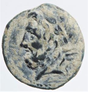 obverse: Mondo Greco. Apulia. Arpi. 217-213 a.C. Obolo. Ae. D\ Testa di Zeus verso sinistra. R/ Cavallo al galoppo verso sinistra, sopra una stella, sotto monogramma di Arpi. Peso 3,80 gr. Diametro 18,00 mm.SPL.