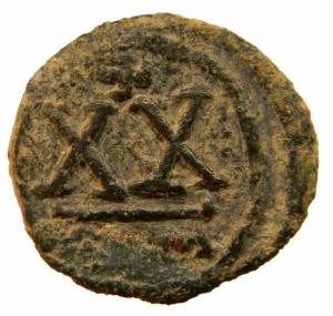 reverse: Bizantini. Tiberio II Costantino. 578-582 d.C. Ae. Mezzo Follis. Zecca Roma. Sear 467. Peso 4,70 gr. Diametro 21,17 mm. BB+. R.=