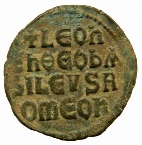 reverse: Impero Bizantino. Leone VI (886-912). Follis, Costantinopoli. D/LEON S ALEXANDROS Leone di fronte. R/ +LEON S ALEXAN GROS bASIL ROMEON Legenda in quattro righe. D.O. 6. gr. 7,30 mm. 26.00 AE. BB+.=