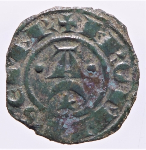 obverse: Zecche Italiane.Messina e Brindisi. Federico II (1220-1250, Svevi) Denaro. D/Crescente con A. R/Croce patente.Peso 1,00 gr. Spahr.123. MI. BB+