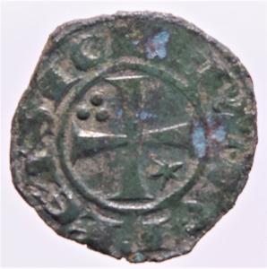 reverse: Zecche Italiane.Messina e Brindisi. Federico II (1220-1250, Svevi) Denaro. D/Crescente con A. R/Croce patente.Peso 1,00 gr. Spahr.123. MI. BB+