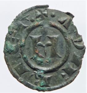 obverse: Zecche Italiane.Messina. Manfredi (1258-1266). Denaro. Sp. 204. MIR 481 (Manfredonia). MI. g. 0.70 mm. 16.00 BB+.