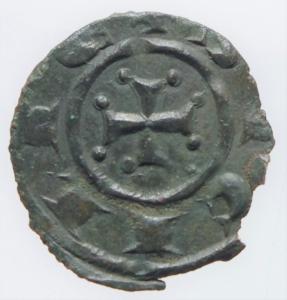 reverse: Zecche Italiane.Messina. Manfredi (1258-1266). Denaro. Sp. 204. MIR 481 (Manfredonia). MI. g. 0.70 mm. 16.00 BB+.